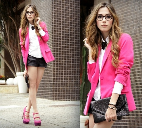 Lookbook pick of the day! I love the mix of a hot pink blazer and leather hot pants.