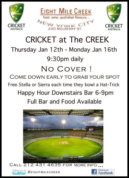 JOIN US this Thurs -Monday for CRICKET at The Creek