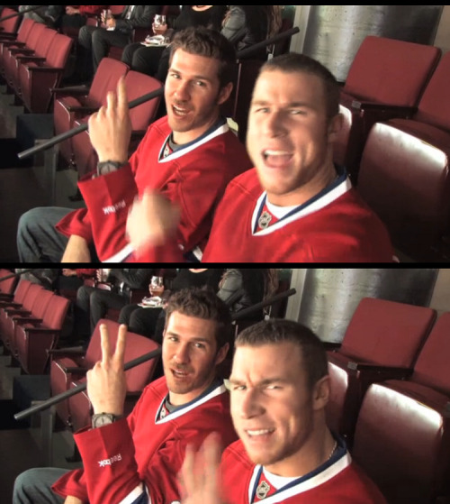 JP Arencibia and Brett Lawrie wearing Habs jerseys at the Canadiens game last night. Yes, I went there. #abandontumblr