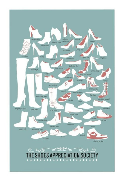oh-so-jana:  The Shoes Appreciation Society (A Shoe pictionary). For some of us who are confused (but I highly doubt it. Come on, women?!) and for men who are EVEN MORE confused.