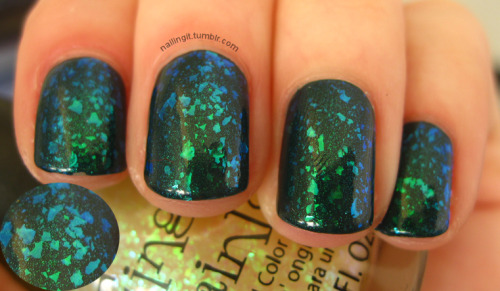 nicole by opi - khloe had a little lam-lamfinger paints - fleckedpure ice - heart breaker there is mega layering going on in this manicure. i first saw a sort of similar combo by a lovely lady on the nail board and had to try it RIGHT, THAT, SECOND. she used a lighter green but i really like what i did too. the blue/green duochrome flakies are awesome and entertaining… i am happy to have them in my collection now!