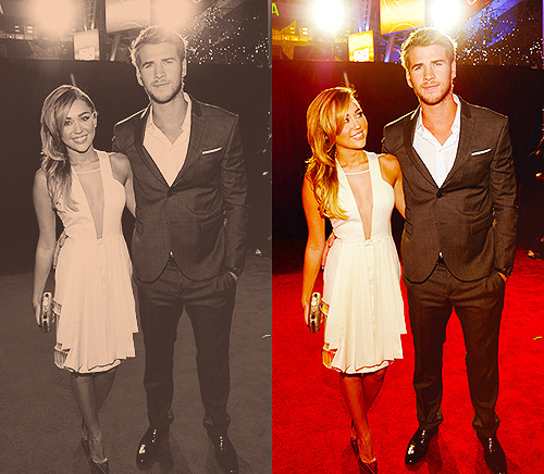 I don't care what people say- Miley & Liam are so freaking adorable. && her choice in dresses at events have been stellar.