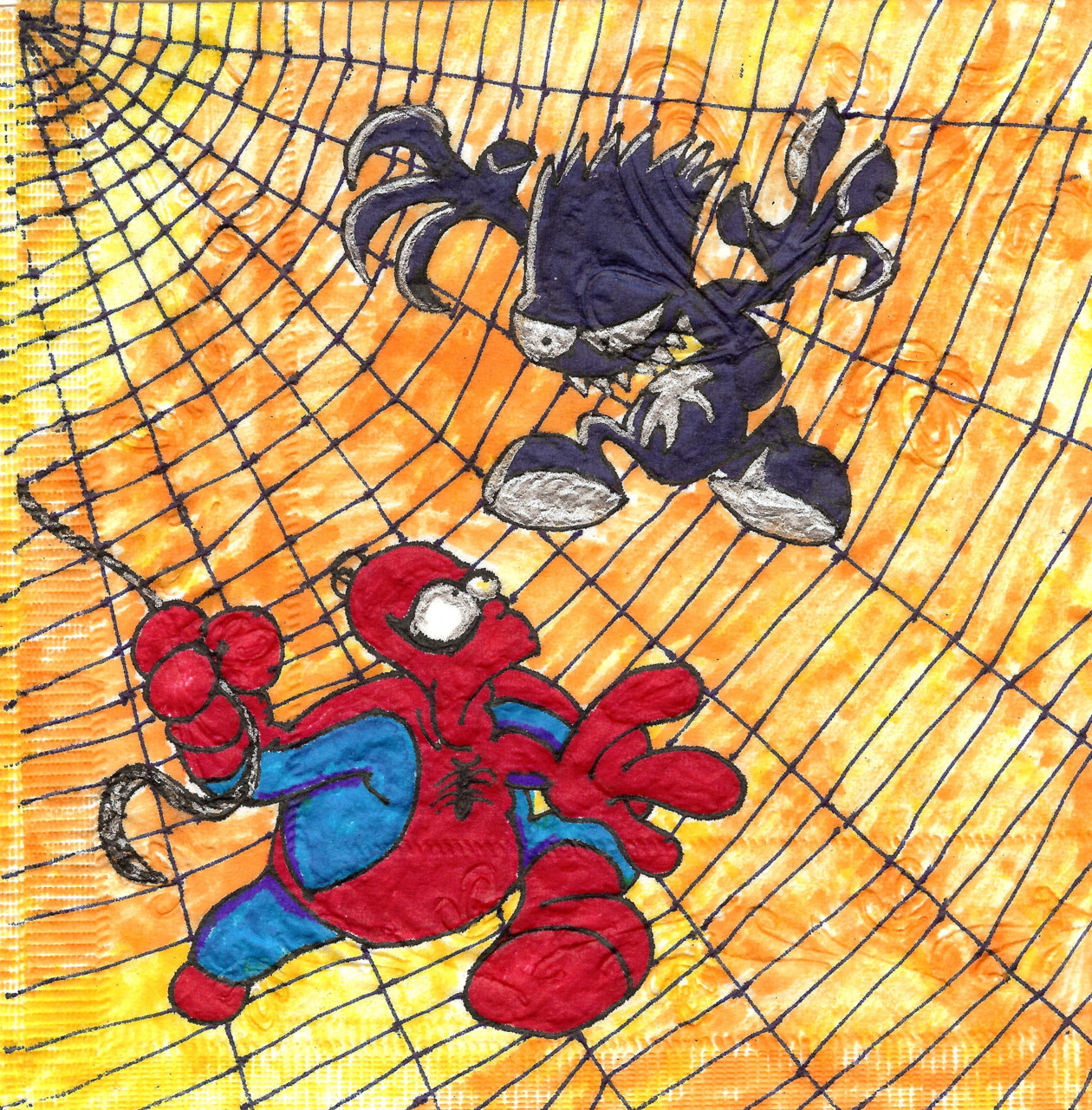 """What out Spidy!""  2012 Simpsons napkin art."