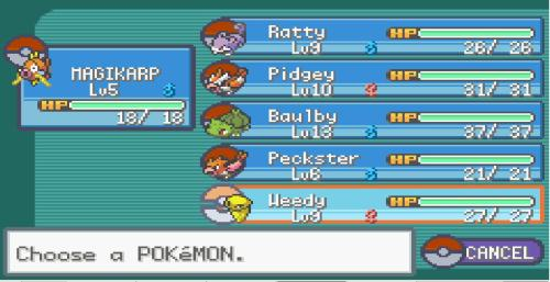 DECIDED TO MAKE MY FIRST 6 POKEMON MY FINAL LINE UP FOR THE REST OF THE GAME. THIS IS GOING TO TAKE A LOT OF PATIENCE.SHOULD HAVE WENT INTO THAT CAVE. MAGIKARP AIN'T NO GEODUDE.