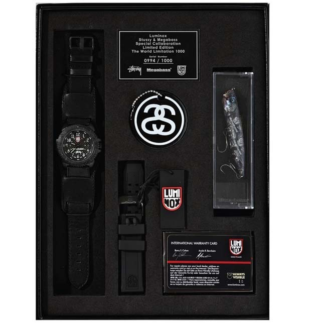 Luminox x Megabass x Stussy Watch & Lure Box Set James Oliver, slamxhype.com In col­lab­o­ra­tion with watch­mak­er Lumi­nox and fish­ing sup­pli­er Megabass, Stussy brings to you a watch and lure box set. The set con­sists of a 3150 Lumi­nox watch with both leather and rub­ber straps, a Stussy brand­ed Megabass lure and a…  survival kit