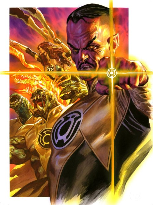 noahbodie:  Gouache painting of the Sinestro Corps by Felipe Massafera