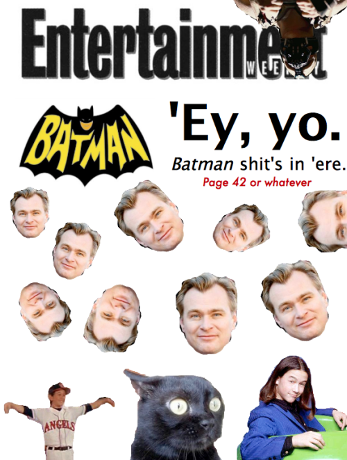 I found the cover of Entertainment Weekly's upcoming The Dark Knight Rises issue a little… well… bland.   So here is my attempt to jazz it up a little. This is much more eye-catching than Batman just sorta standing there.
