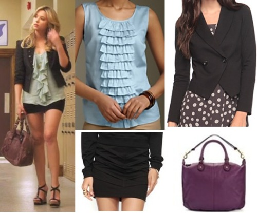 Hanna has had style from episode 1, to the episodes now. Achieve her stylish look with a black mini, matching blazer, and a top with a bit of ruffle. Add a big bag and you've got Hanna's style.  Under $20 Top:  Talbots Ruffle Top - $14.50 Skirt:   Forever 21 Tiered Mini - $8.50  Under $50 Blazer:  Forever 21 Pointed Hem Blazer - $24.80  Bag:  Leatherette Multi Strap Bag - $22.41