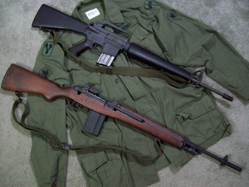 gunrunnerhell:  Vietnam Veterans - The M16 and M14 (though both are civilian models; note the lack of the selector switch on the M14, i.e M1A)