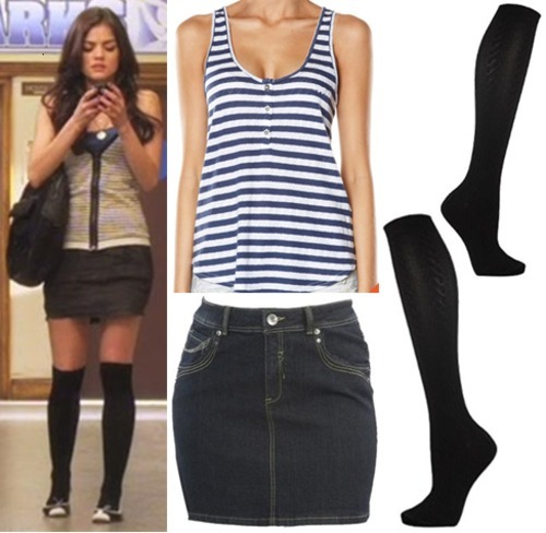 Aria's comfy school look can easily be achieved with a striped tank, denim mini skirt and knee high socks. Effortless, yet so well put together! And every item is less than $20, get on it!  Under $20 Top:  Rusty Striped Button Top - $16.00 Skirt:   Black Denim Mini Skirt - $7.50 Socks:  Black Cable Knit Knee High Socks - $5.98
