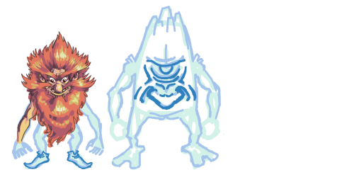 WIP of some common monsters from my game project. This is where I discover how much I truly loath shading hair.
