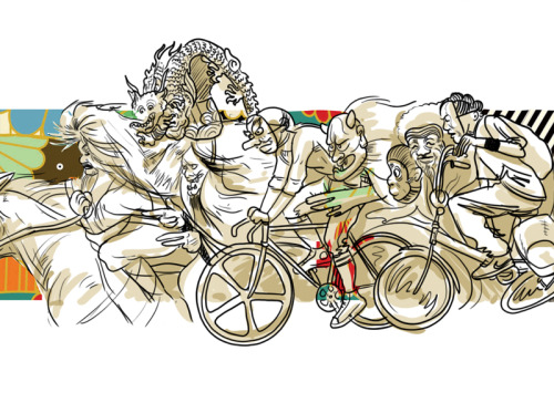 little sketch about urban warriors, Noh, movement and bikes. whee! click here for full illustration.