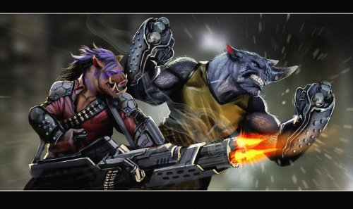 geekmythology:  rocksteady and bebop rock by ~nebezial