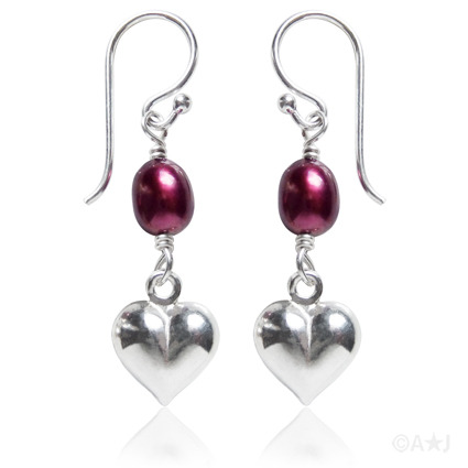 Freshwater Pearl and Sterling Silver Heart Earrings.