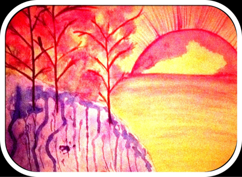 A watercolor landscape I attempted tonight at my brother's house..