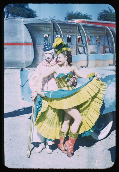 """Clown and ballerina from Birthday Pageant. Chicago, 1949."" Ringling Brothers Barnum & Bailey. Photo by Charles Cushman (I posted this a long while back…I just love it)"