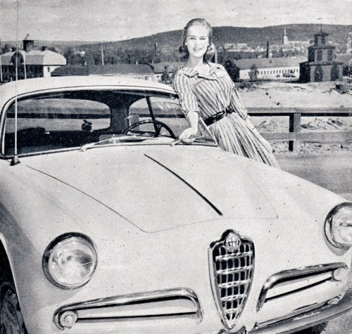 —Ingrid Goude & the Alfa Romeo Giulietta (1957, perhaps) Oh, the sweet things individually and the sweet things combined!