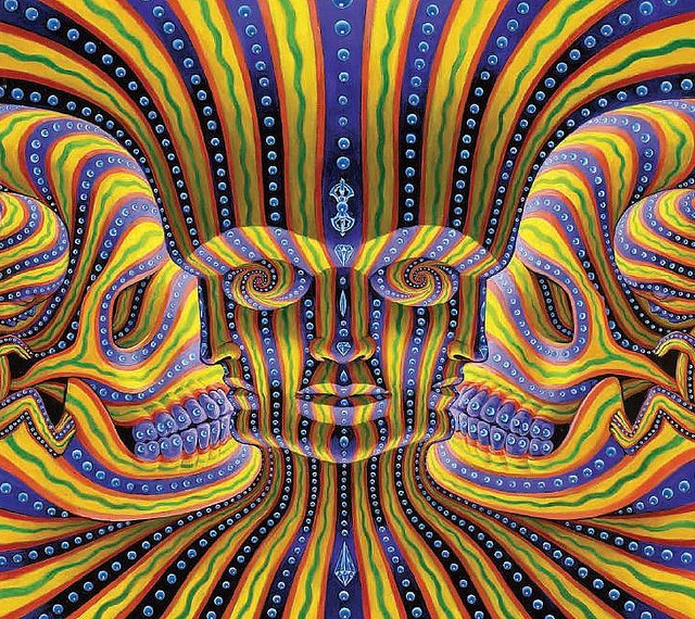 """Bardo Being"" by artist Alex Grey - oil on wood - 24"" x 24""  (Posted for our buddy King Cody Blacklight)"