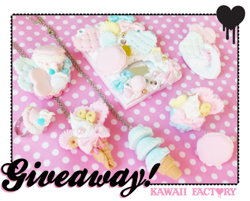"sototallylame:  kawaii-factory:  ""2012 Kawaii Factory GIVEAWAY"" You can win a huge lot of Kawaii Factory accesories!!! Whipped deco mirror Macaroon ring Ice cream scoop ring Super ice cream necklace Banana crepe necklace Banana sweet cupcake Macaroon brooch Sweet necklace hook hanger This is what you need to enter the giveaway: Follow my tumblr kawaii-factory Reblog this as many times as you want. Likes don't count Additional Details The winner will be chosen by random generator and I will message the winner, if they don't reply in one week then I will start a new post and pick a new winner. Free shipping to anywhere. WINNER WILL BE CHOSEN ON THE 31ST OF JANUARY Good Luck <3 kawaii factory  Such a gorgeous giveaway! I hope everyone enters and helps out! :)  Sooooooo cute!!"