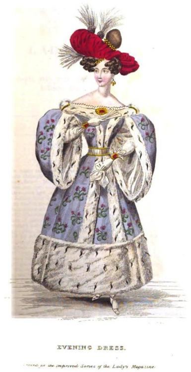 Lady's Magazine, Evening Dress, January 1830.  Well…at least she looks warm!