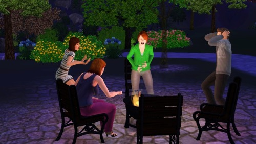 My Sim went into labor at the park, and everyone started freaking out except for this one bitch, who just went on roasting her marshmallows.