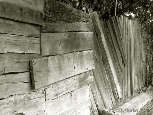 Photograph Rustic Fence Black and White by VirtualityStudio