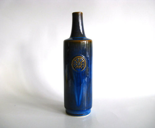 Blue Vase Scandinavian Pottery Soholm Stentoj by pillowsophi
