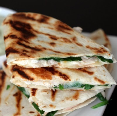 Chicken, Spinach, Cheese Quesadillas with Avocado Sour Cream.