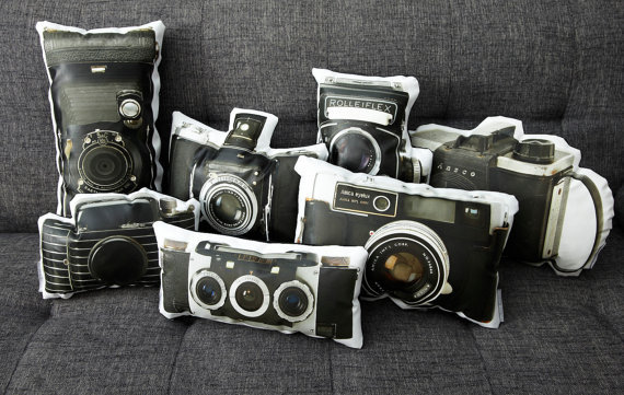 storagegeek:  Vintage Amica Eyelux Camera Canvas Printed Pillow by intheseam How amazing are these pillows?! Good looking and handmade such a great combo!