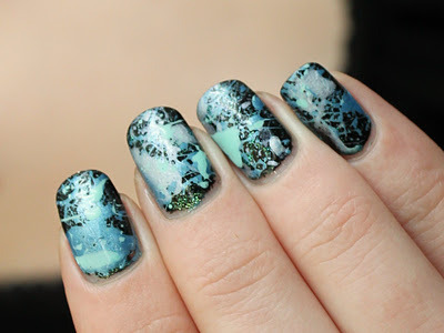 Blue Splatter Nails