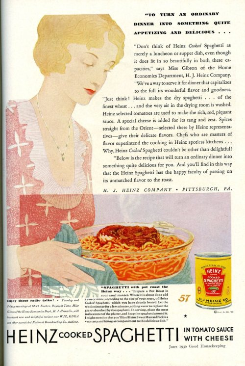 Heinz Spaghetti ad 1930, Good Housekeeping