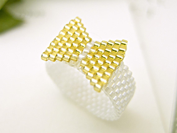 Gold Bow Ring Beaded on White Band Ribbon Preppy by JeannieRichard