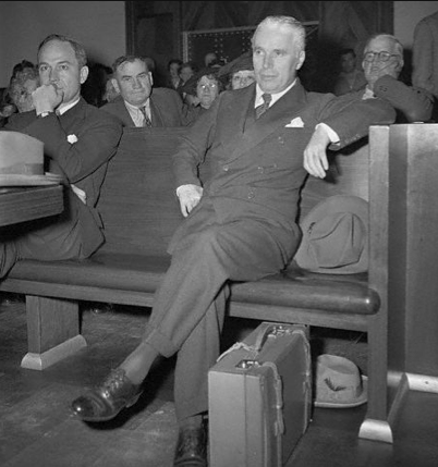 28 Feb 1944, Los Angeles, California, USA —- Charlie Chaplin learns that his scheduled arraignment on charges of violating the Mann Act is postponed. Federal judge J.F.T. O'Connor set aside for a day, his decision as to whether Chaplin must face trial. —- Image by © Bettmann/CORBIS