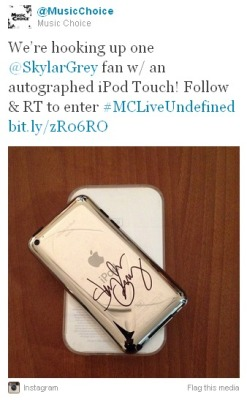 Don't miss your last chance to win an iPod touch autographed by SKYLAR GREY, brought to you by @MusicChoice.  The sweepstakes ends today! Check out our Twitter and follow & RT to win. And don't forget to check out Live Undefined: Skylar Grey, available now on Music Choice On Demand.  —Music Choice