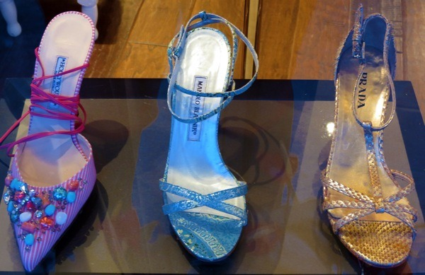 Shoes in our windows this week include: HollyWould heels, Manolo Blahnik sandals and Prada gold snakeskin wedges.