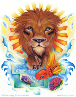 "citruquinz:  ""The Lion, the Ocean, and the Koi Fish"" This is a Lion Tattoo design for a friend of mine.  Medium: Color Pencil and Marker"