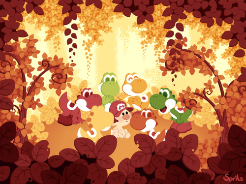 Yoshi's Island by Sprits I really digg this familiar shot from Nintendo's original Yoshi's Story reimagined by this talented artist!  Go check out more of this stuff in her gallery.