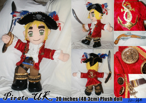 "Here is a detailed image of my hand-made ""Pirate England/UK"" doll - my personal Convention Assistant (attention seeker), Treasurer to my riches (nicks my jewellery) and companion to the Pilot America doll (loves to show his affection for his dear ""play-mate"" by shoving him off the chair they sit on!)!  Pirate UK has his own ask blog now here on Tumblr at: http://askpirateukplush.tumblr.com/  Ask him a question in the Ask box and he'll answer with either a photograph or a drawing!"