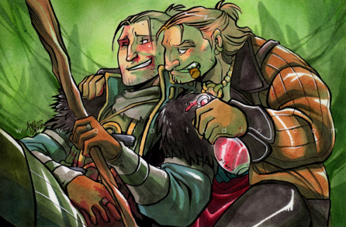 "To Heal The Healer4""x6""Brush pen, technical pen, Copic markers, pen white —- Commission of Dragon Age 2's Anders and Varric Tethras Commission info"