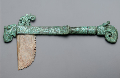Hafted axe with dragons ca. 1300-1200 B.C.E. Unidentified, Chinese   Late Shang dynasty  Early Anyang period Bronze with turquoise inlay and jade (nephrite) bladeAnyang,  China Smithsonian Museums