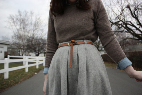 what-do-i-wear:  Skirt: Thrifted, Sweater: Charter Club (image: allthishappiness)