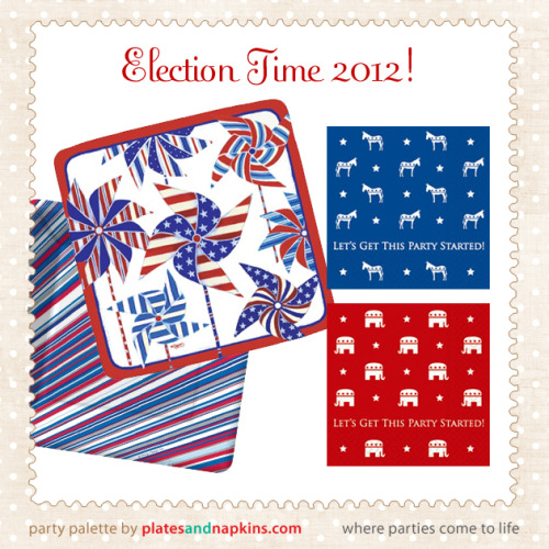 "2012 welcomes an election year filled with galas, candidate functions and party celebrations of all kinds. Show your support with Election and American-themed party supplies including these adorable ""Get this party started"" cocktail napkins for republicans and democrats. Rally in style with election themed party supplies. Items Pictured: Patriotic Pinwheels Napkins, Radiant Stripes Americana Plates and Napkins, Party Started Republican Beverage Napkins and Party Started Democrat Beverage Napkins all available online at PlatesAndNapkins.com"