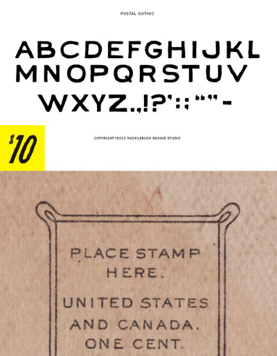 POSTAL GOTHIC - Quirky uppercase OpenType font with basic punctuation $10.00 - Buy Now