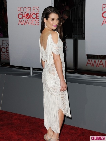 // Lea Michele did it again in a white flapper Marchesa dress at the People's Choice Awards. Check out the other hotties and notties from last night here!  Photo: Celebuzz