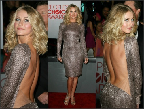 // Julianne Hough was on fire in this sexy metallic number. Check out the other hotties from the People's Choice Awards red carpet here!  Photo
