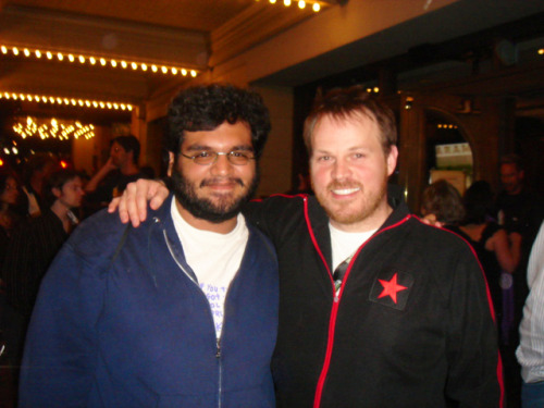 "RE: The Matthew Gray Gubler post Here's me with Marc Webb after another free hug at the screening of ""(500) Days of Summer"" at SXSW 2009. Nice guy."