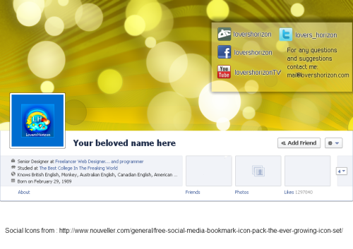 Facebook Timeline Cover - XCF,PDN,PSD Template by ~LoversHorizon