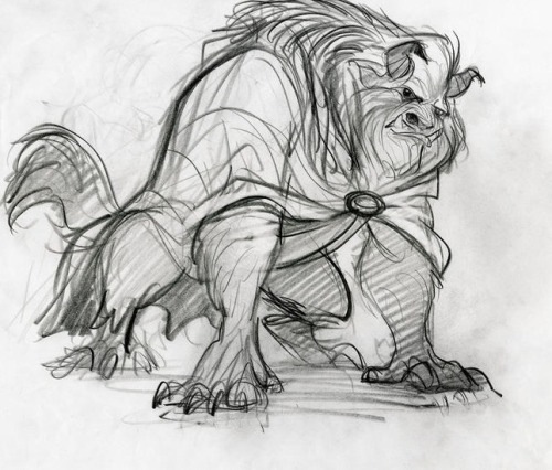 "stufflikehearts:  Supervising animator Glen Keane, who was charged with designing and drawing the Beast, spent a lot of time at the zoo figuring out how to best bring the character to life. Ultimately, the Beast became a hodgepodge of physical characteristics from many animals, including the mane of a lion, the horns and head of a buffalo, the eyebrows of a gorilla, the tusks of a wild boar, the upper body of a bear, and the legs and tail of a wolf. Oh, my! There's also one physical attribute you don't see: the posterior of a mandrill. According to Keane, ""Beast actually has a rainbow bum, but nobody knows that but Belle.""To further add to the Beast's savage ways, Robby Benson's voice was enhanced by the growls of actual lions and panthers. Yet in order for Belle to fall for the Beast, his human side had to be readily apparent. Because of this, animators made sure to keep the Beast's eyes deep blue and full of soul."