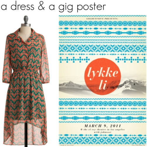 dress by Modcloth, poster by Sara Wood