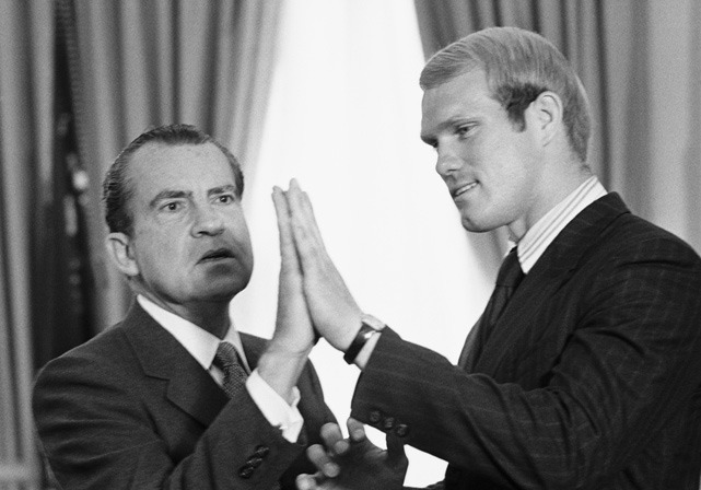President Nixon compares hands with Louisiana Tech's Terry Bradshaw in this April 1970 photo. The  All-American quarterback, who was visiting the White House with his teammates, was drafted No. 1 overall in the 1970 NFL Draft. (Bettmann/CORBIS) GALLERY: Athletes Visiting the White HouseGALLERY: Rare Photos of Terry Bradshaw